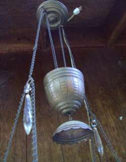 ANTIQUE VTG OIL BRASS HANGING GLASS LAMP 32 LEADED CHRYSTALS ELECTRIC