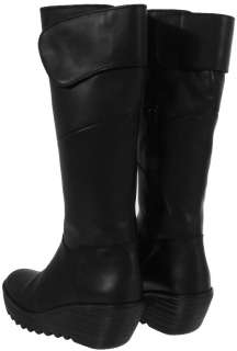Fly London Womens Yule Black New Leather Long Boots