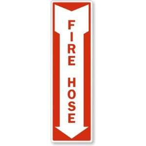 Fire Hose (Arrow) Aluminum Sign, 24 x 7
