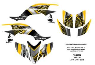 YAMAHA YFZ450 Atv Graphic Decal Sticker Kit #7777Yellow
