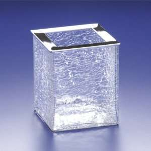 91129 Square Crackled Crystal Glass Toothbrush Holder 91129 Home