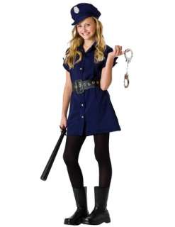 KIDS COP LAW OFFICER UNIFORM GIRLS TWEEN HALLOWEEN COSTUME