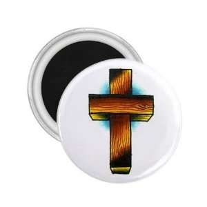 Tattoo Cross Wood Art Fridge Souvenir Magnet 2.25 Free