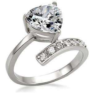 2 Ct Womens Stainless Steel Classic Engagement Ring with Clear