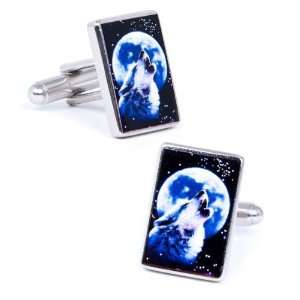 Wolf Howl At The Moon Cufflinks Cuff Links