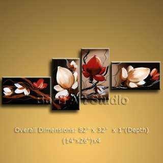 Large Framed Abstract Floral Painting Tulip Flowers Modern Canvas Wall