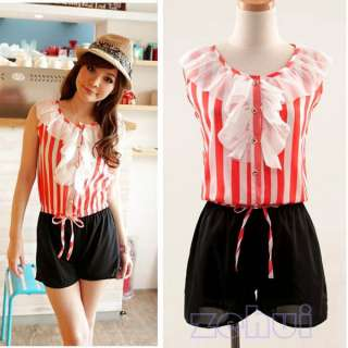 Fashion Korean Women Girl Chiffon Jumpsuit Overalls Rompers Stripes