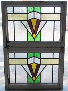 Pair of Antique Stained Glass Windows Four color Art Deco Purple