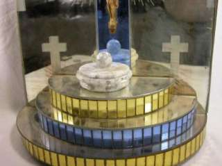 Spectacular ART DECO blue, clear, and yellow mirror holy water font