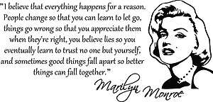 BELIEVE MARILYN MONROE QUOTE VINYL WALL DECAL STICKER ART