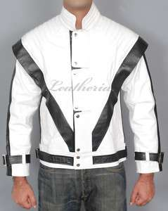MICHAEL JACKSON WHITE THRILLER Leather Jacket S M L XL