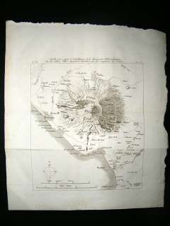 Italy 1806 Antique Map. Mount Vesuvius, Pompei Naples