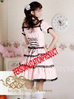 Sweet Lolita bl​ack Lace Pink Cotton Dress Ball Gown Cosplay 2pcs