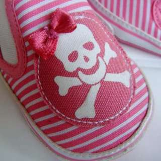Skull KIds Baby Shoes Pink Bow Tie Toddler Walking 3S10