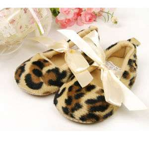 new toddler baby girl soft leopard Dress shoes size 3 4