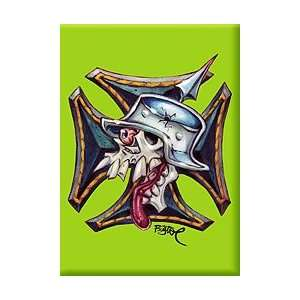 Artist BigToe Skull Iron Cross Fridge Magnet Kitchen