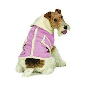 SHEARLING FAUX SUEDE DOG COAT Petal Pink Small Kitchen