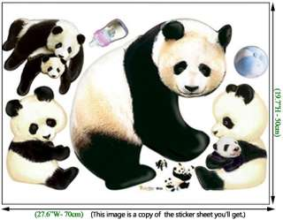 Panda Bear Self Adhesive WALL STICKER Removable Decal