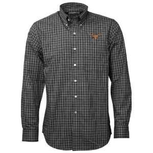Cutter & Buck Texas Longhorns Black Alumni Check Woven Long Sleeve