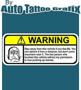 NOVELTY WARNING Decal Sticker Car Truck Bike JDM V8 PS3