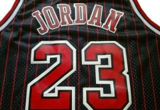 Michael Jordan Chicago Bulls Black Jersey Red Pinstripe