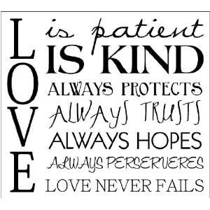 Love Is Patient, Love Is Kind, It Always Protects wall