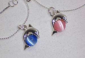 2pc SILVER PLATED PINK & BLUE CATS EYE BEAD & DOLPHIN CHARM PENDANT