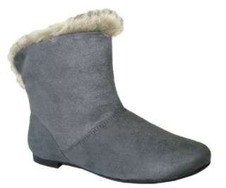 Soft, Comfy & Stylish Faux Fur Suede Ankle Boots Charcoal Sz 7