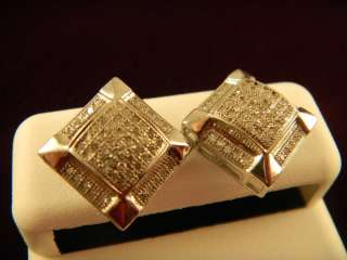 Diamond Men Earrings In Square shape White Gold Finish Pave Settings