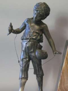 Fabulous French Art Deco Marble & Sculpture Clock of Boy Fishing c