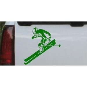 Skier Sports Car Window Wall Laptop Decal Sticker    Dark Green 10in X
