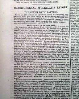 SEVEN DAYS BATTLES George McClellan Civil War Newspaper