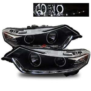09 11 Acura TSX CCFL Halo LED Strip Projector Headlights   Black ( R8