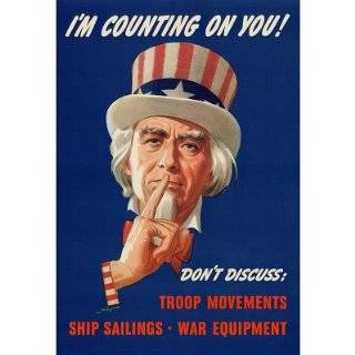 Framed Uncle Sam Im Counting On You Dont Discuss WWII War Propaganda