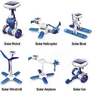 6 in 1 Robot DIY Educational Solar Kit (White + Blue