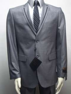MENS SHARKSKIN SLIM FIT GRAY DRESS SUIT SIZE 46L NEW
