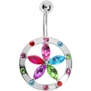 Multi Gem Encircle Lily Flower Belly Ring Jewelry