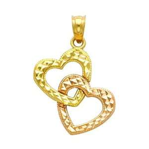 14K Yellow and Rose 2 Two Tone Gold Double Heart Charm