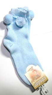 Infant Toddler Girls Socks Pom Pom Dressy Sock Blue