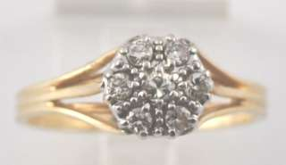 ESTATE 14K WHITE & YELLOW GOLD DIAMOND BALLERINA RING