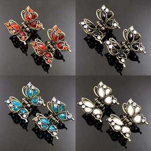 ADDL Item  2 antiqued rhinestone crystal butterfly hair