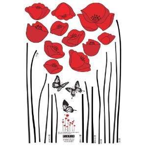 Easy Instant Decoration Wall STicker Decal   Red Flowers