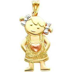 14K Tri Color Gold Girl Heart Charm Jewelry