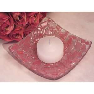 Murano Art Deco Collection Pink Pebble Design Candle Holder (Set of 6
