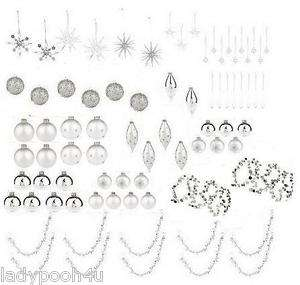 ISAAC MIZRAHI LIVE 77 Pc Trim A Tree Decorating Kit Silver Christmas