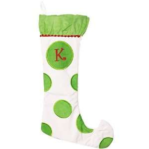 Monogrammed Christmas Stockings   White & Green   Personalized Free