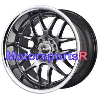 18 XXR 526 Chromium Black Polished Lip Rims Staggered Wheels 96 Nissan