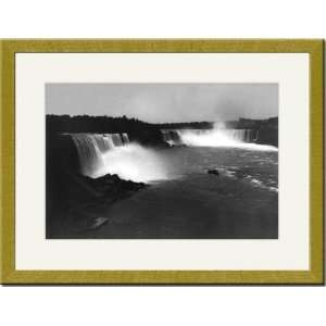Gold Framed/Matted Print 17x23, Birds eye view of Niagara