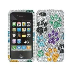 Full Diamond Rhinestone Colorful Dog Paws On Silver Design