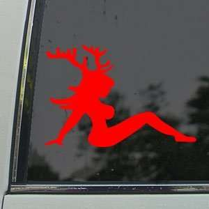 Sexy Chic With Deer Horns Red Decal Truck Window Red